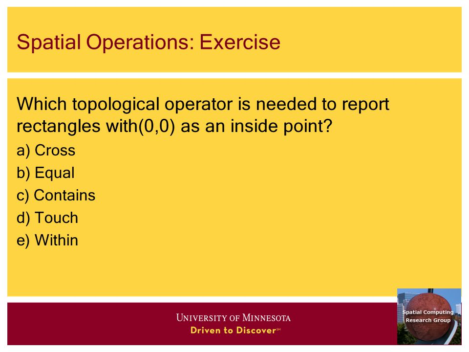 Spatial Operations: Exercise Which topological operator is needed to report rectangles with(0,0) as an inside point.