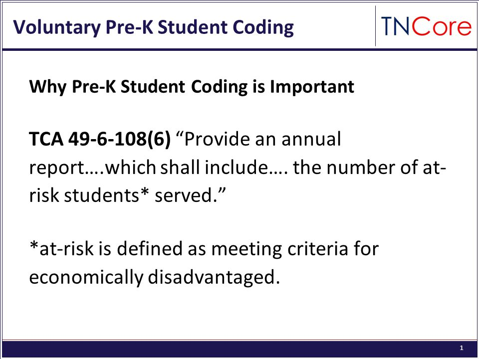 1 Voluntary Pre-K Student Coding Why Pre-K Student Coding is Important TCA 49-6-108(6) Provide an annual report….which shall include….