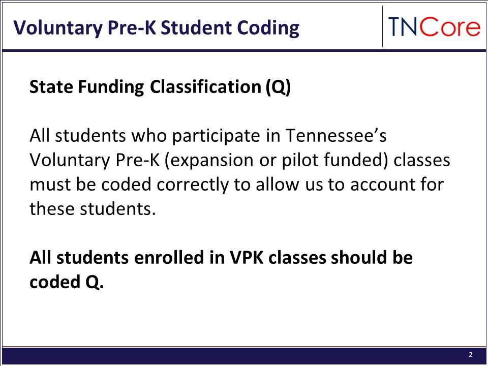 2 Voluntary Pre-K Student Coding State Funding Classification (Q) All students who participate in Tennessee's Voluntary Pre-K (expansion or pilot fund