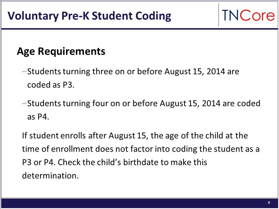 6 Voluntary Pre-K Student Coding Age Requirements –Students turning three on or before August 15, 2014 are coded as P3.