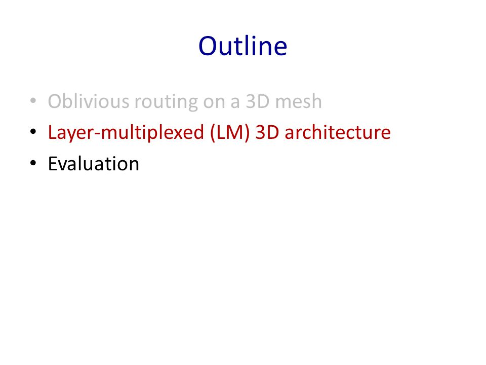 Outline Oblivious routing on a 3D mesh Layer-multiplexed (LM) 3D architecture Evaluation