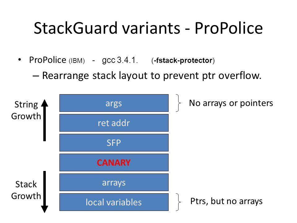 StackGuard variants - ProPolice ProPolice (IBM) - gcc 3.4.1.