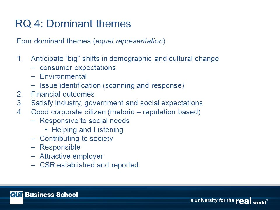 RQ 4: Dominant themes Four dominant themes (equal representation) 1.Anticipate big shifts in demographic and cultural change –consumer expectations –Environmental –Issue identification (scanning and response) 2.Financial outcomes 3.Satisfy industry, government and social expectations 4.Good corporate citizen (rhetoric – reputation based) –Responsive to social needs Helping and Listening –Contributing to society –Responsible –Attractive employer –CSR established and reported
