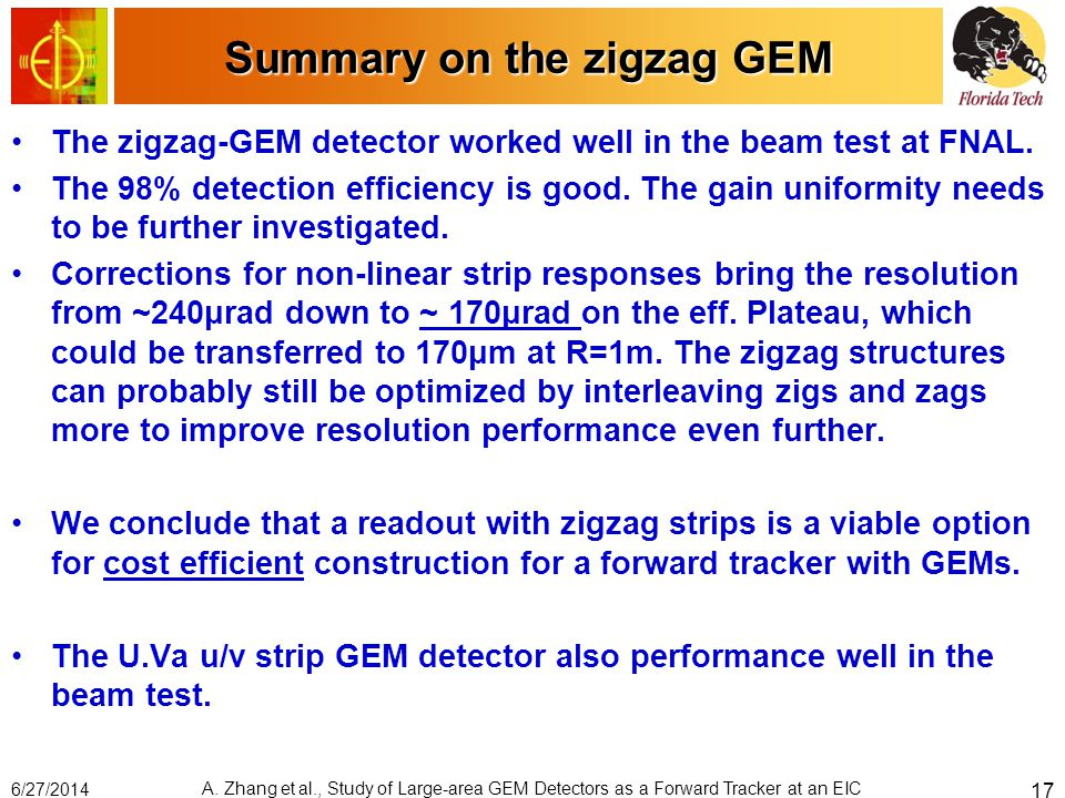 Summary on the zigzag GEM The zigzag-GEM detector worked well in the beam test at FNAL. The 98% detection efficiency is good. The gain uniformity need