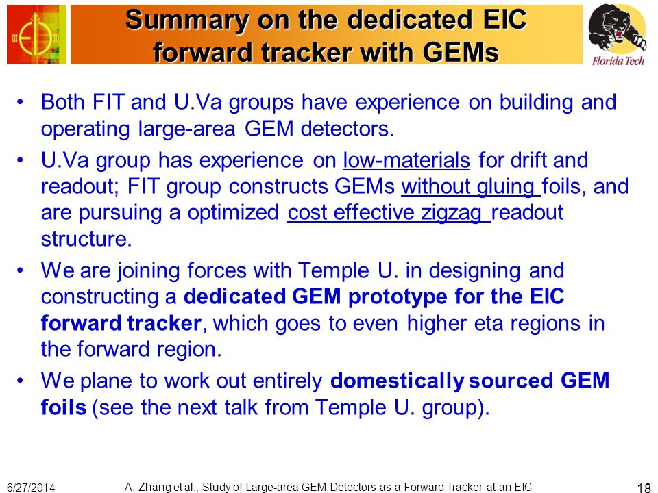 Summary on the dedicated EIC forward tracker with GEMs Both FIT and U.Va groups have experience on building and operating large-area GEM detectors. U.