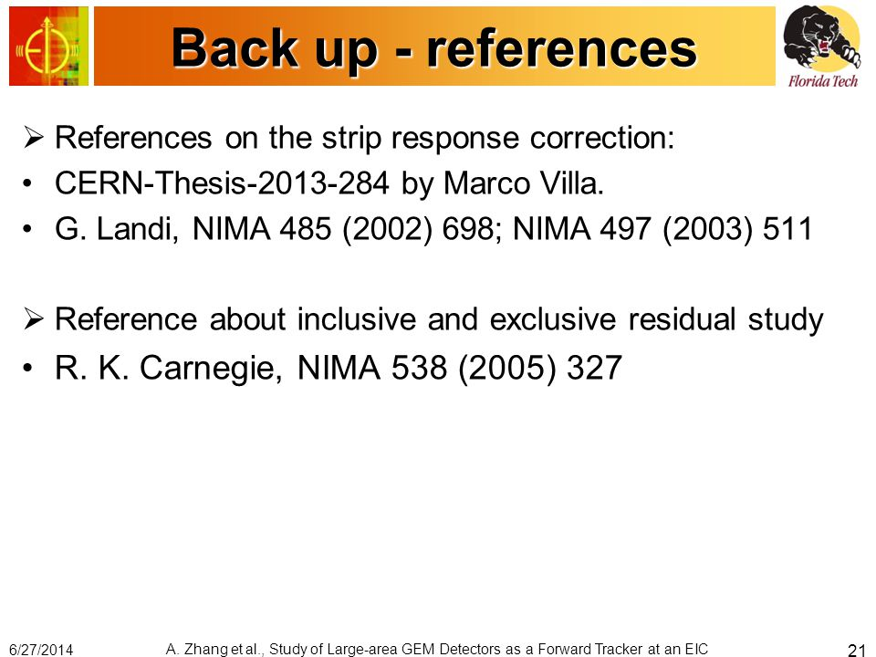 Back up - references  References on the strip response correction: CERN-Thesis-2013-284 by Marco Villa. G. Landi, NIMA 485 (2002) 698; NIMA 497 (2003