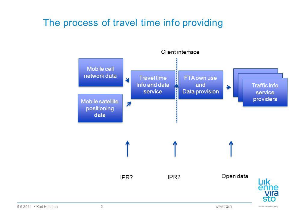 www.fta.fi The process of travel time info providing 5.6.2014 Kari Hiltunen 2 Travel time Info and data service Travel time Info and data service Mobi
