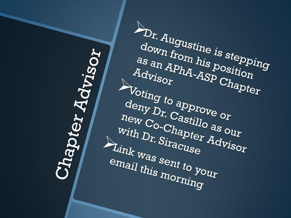Chapter Advisor  Dr.