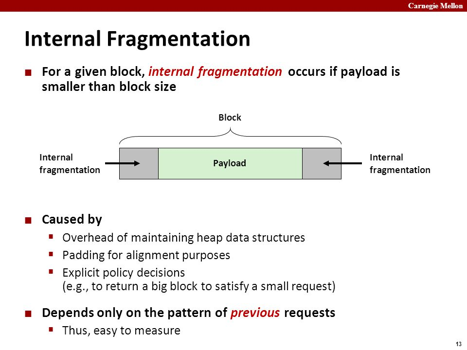 Carnegie Mellon 13 Internal Fragmentation For a given block, internal fragmentation occurs if payload is smaller than block size Caused by  Overhead of maintaining heap data structures  Padding for alignment purposes  Explicit policy decisions (e.g., to return a big block to satisfy a small request) Depends only on the pattern of previous requests  Thus, easy to measure Payload Internal fragmentation Block Internal fragmentation