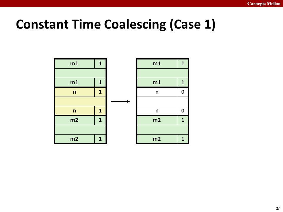 Carnegie Mellon 27 m11 Constant Time Coalescing (Case 1) m11 n1 n1 m21 1 m11 1 n0 n0 m21 1