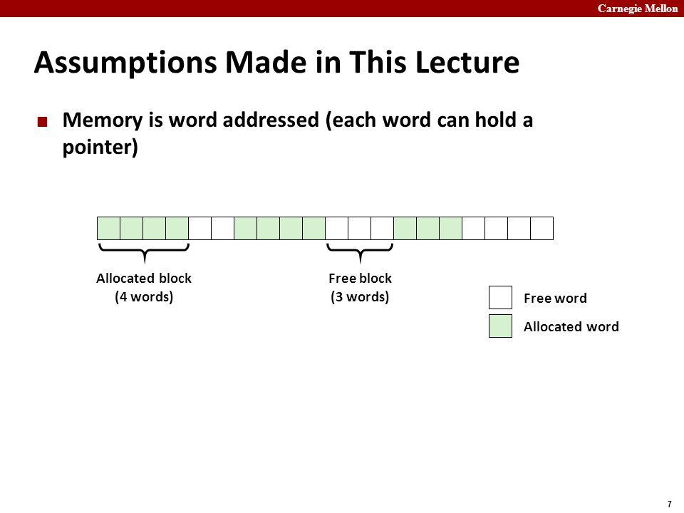 Carnegie Mellon 18 Today Basic concepts Implicit free lists