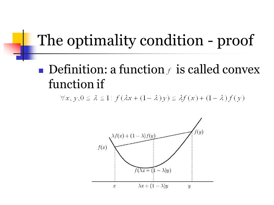 The optimality condition - proof Definition: a function is called convex function if