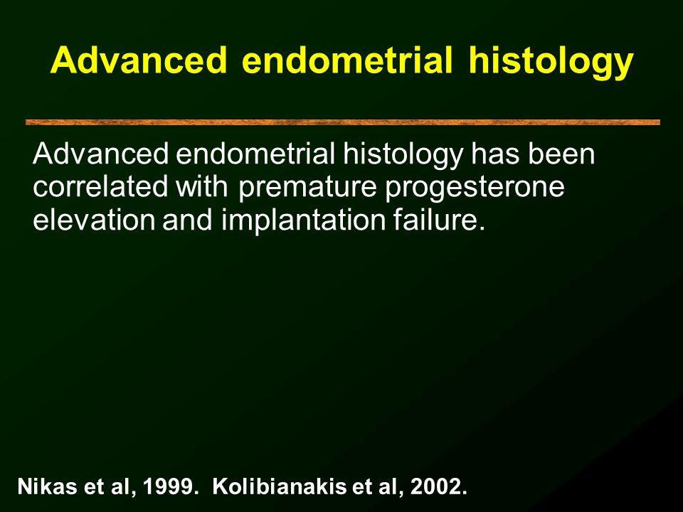 Advanced endometrial histology Advanced endometrial histology has been correlated with premature progesterone elevation and implantation failure. Nika