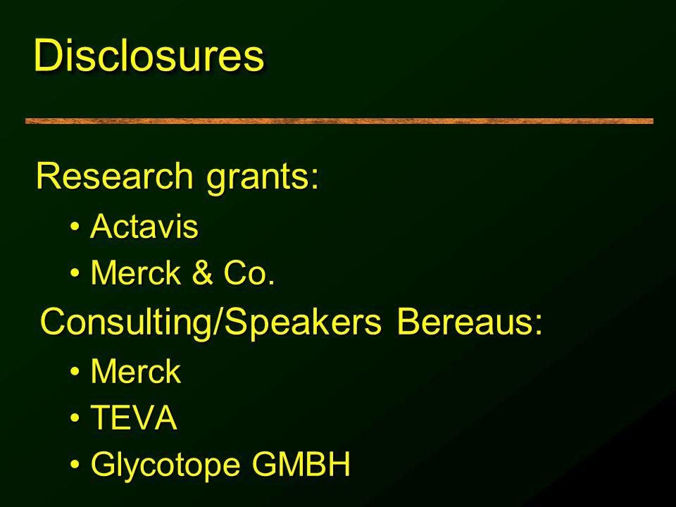 DisclosuresDisclosures Research grants: ActavisActavis Merck & Co.Merck & Co. Consulting/Speakers Bereaus: MerckMerck TEVATEVA Glycotope GMBHGlycotope