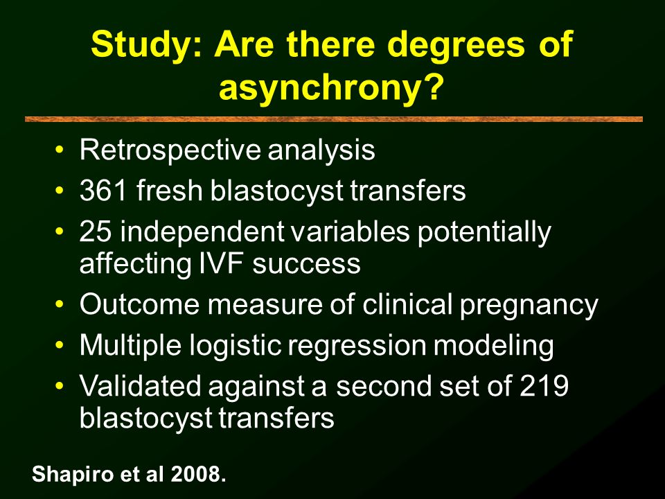 Study: Are there degrees of asynchrony? Retrospective analysis 361 fresh blastocyst transfers 25 independent variables potentially affecting IVF succe