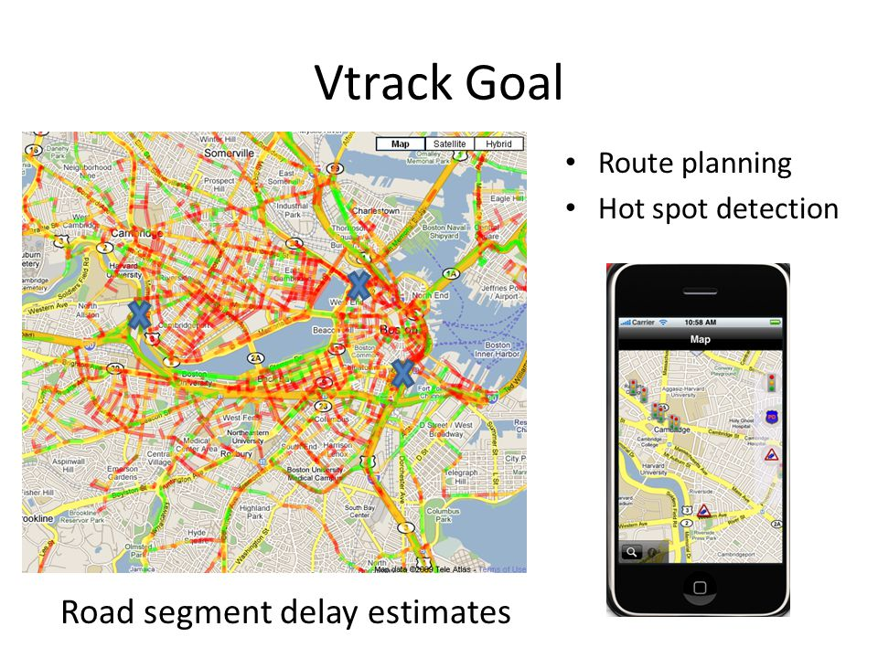 Vtrack Goal Route planning Hot spot detection Road segment delay estimates