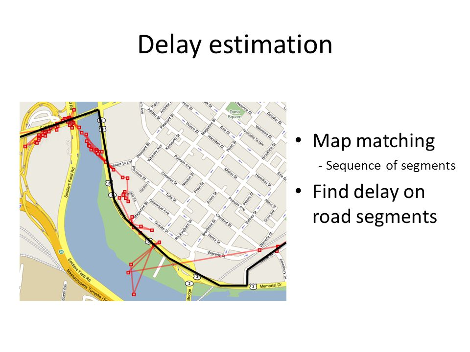 Delay estimation Map matching - Sequence of segments Find delay on road segments