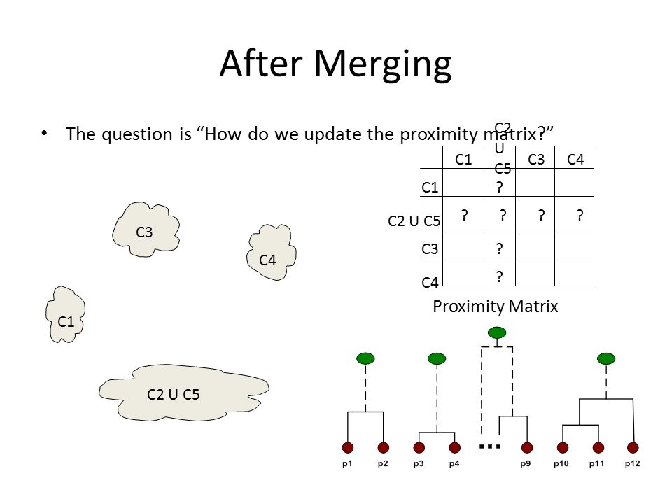 "After Merging The question is ""How do we update the proximity matrix?"" C1 C4 C2 U C5 C3 ? ? ? ? ? C2 U C5 C1 C3 C4 C2 U C5 C3C4 Proximity Matrix"
