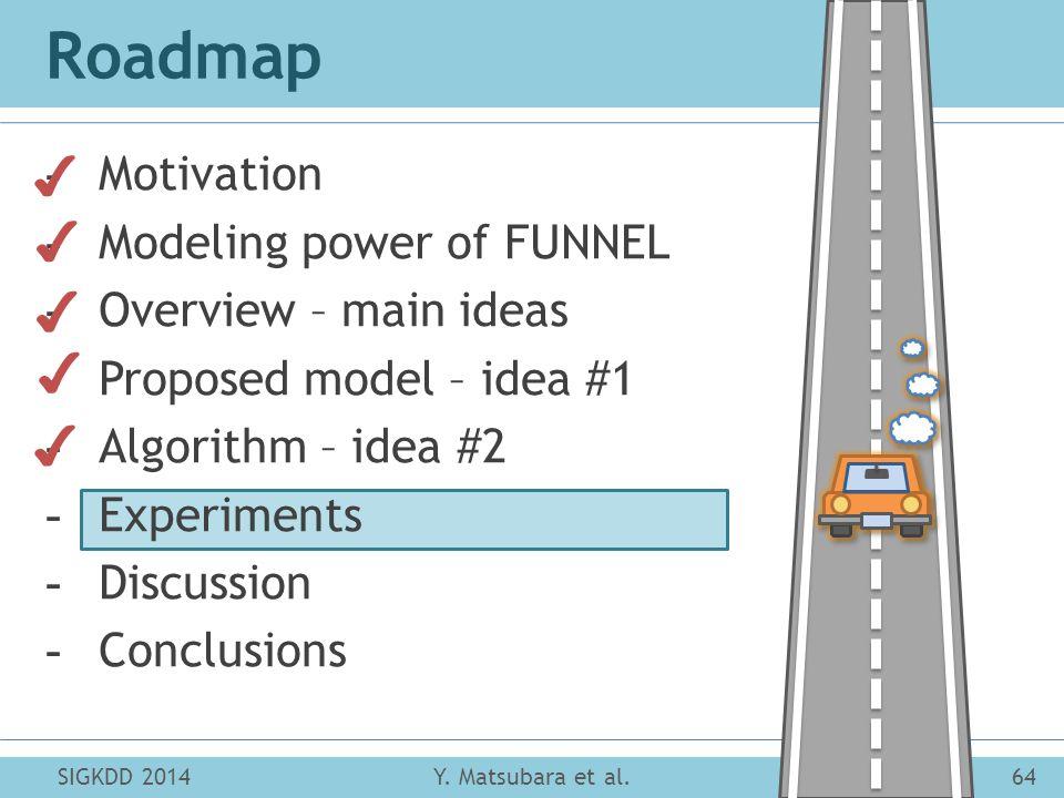 Roadmap SIGKDD 201464Y. Matsubara et al. -Motivation -Modeling power of FUNNEL -Overview – main ideas -Proposed model – idea #1 -Algorithm – idea #2 -