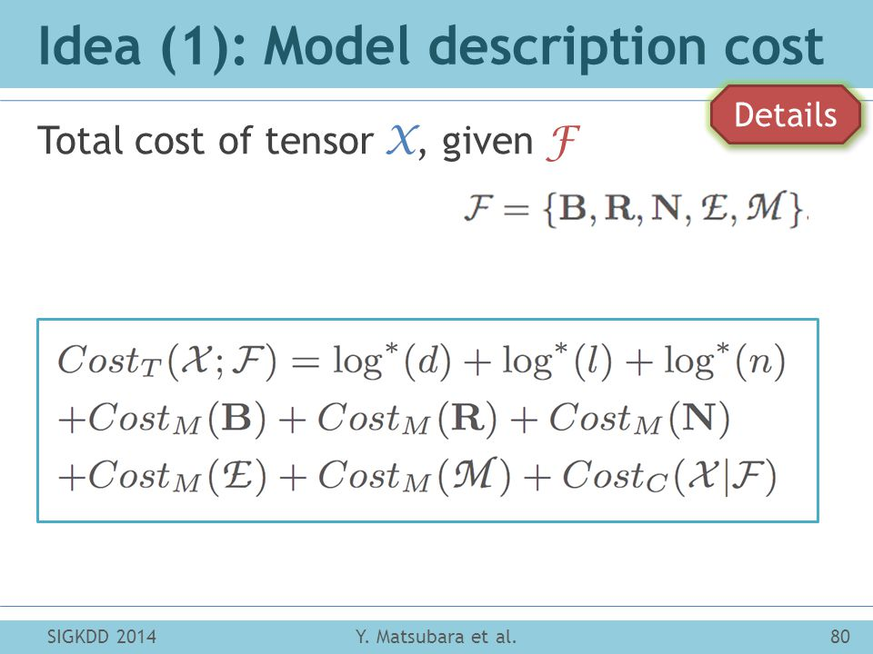 Idea (1): Model description cost Total cost of tensor X, given F SIGKDD 2014Y.
