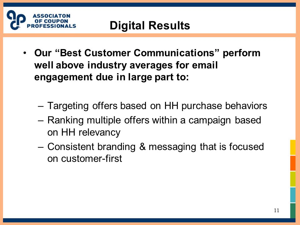 "Digital Results Our ""Best Customer Communications"" perform well above industry averages for email engagement due in large part to: –Targeting offers b"
