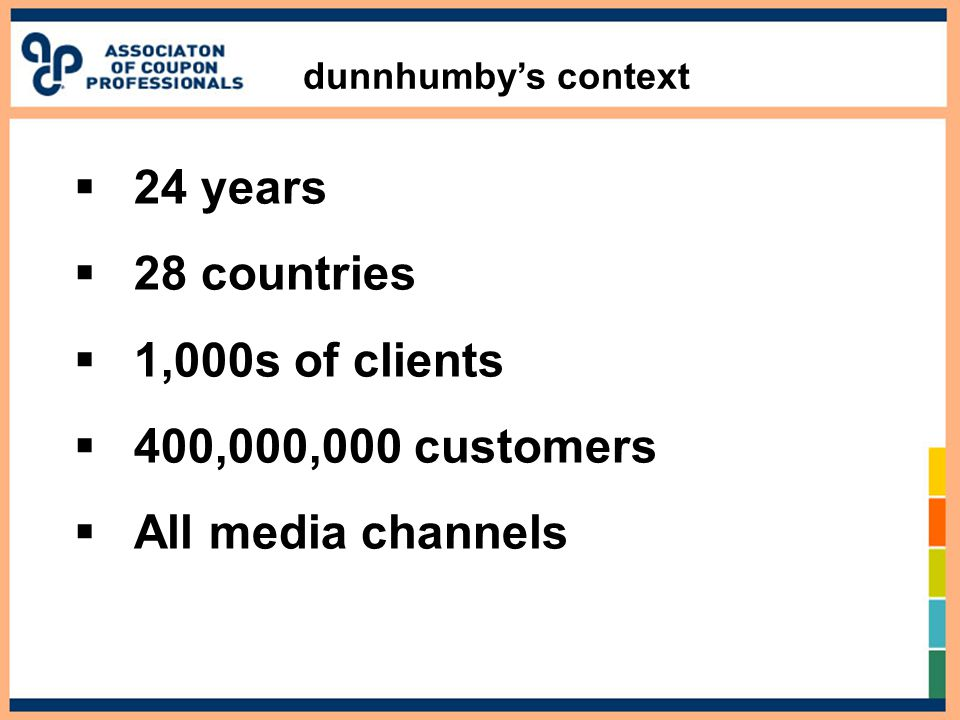dunnhumby's context  24 years  28 countries  1,000s of clients  400,000,000 customers  All media channels