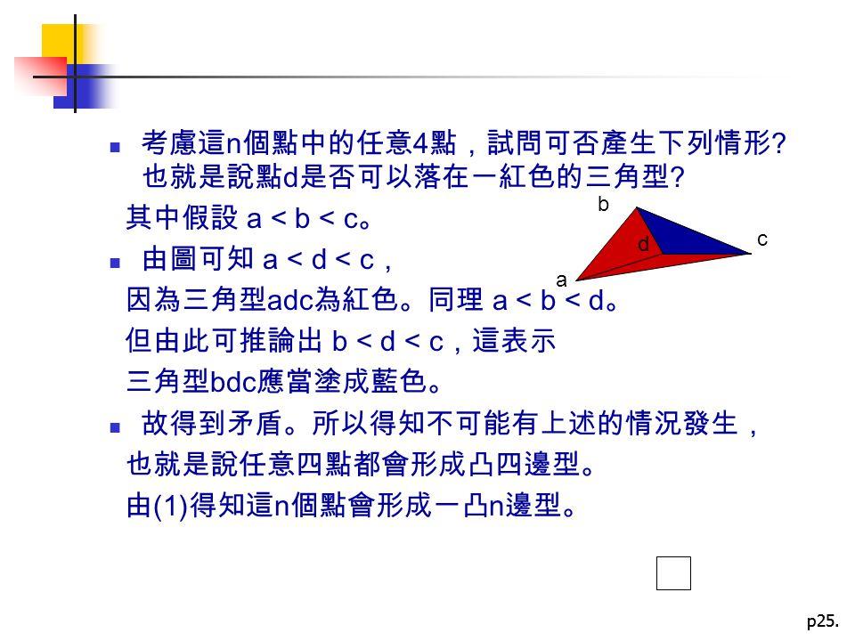 p25. 考慮這 n 個點中的任意 4 點,試問可否產生下列情形 ? 也就是說點 d 是否可以落在一紅色的三角型 ? 其中假設 a < b < c 。 由圖可知 a < d < c , 因為三角型 adc 為紅色。同理 a < b < d 。 但由此可推論出 b < d < c ,這表示 三角型 b