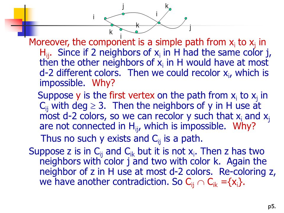 p5. Moreover, the component is a simple path from x i to x j in H ij. Since if 2 neighbors of x i in H had the same color j, then the other neighbors