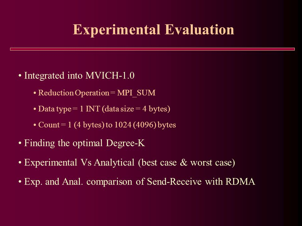 Experimental Evaluation Integrated into MVICH-1.0 Reduction Operation = MPI_SUM Data type = 1 INT (data size = 4 bytes) Count = 1 (4 bytes) to 1024 (4096) bytes Finding the optimal Degree-K Experimental Vs Analytical (best case & worst case) Exp.