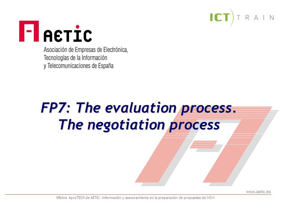 www.aetic.es Oficina AproTECH de AETIC: Información y asesoramiento en la preparación de propuestas de I+D+I FP7: The evaluation process.