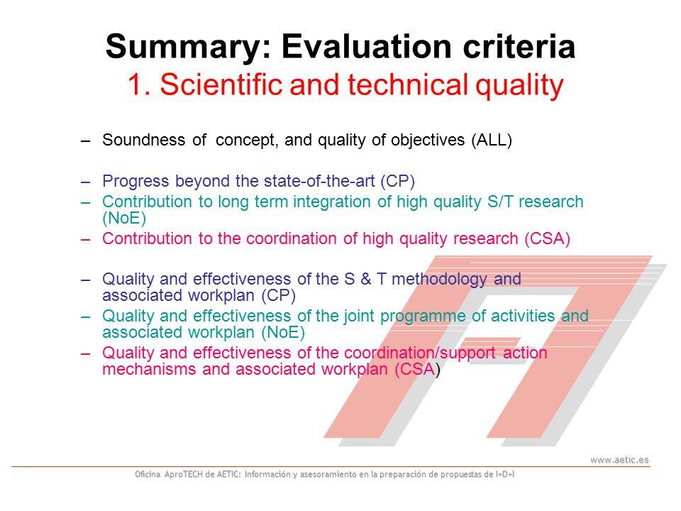 www.aetic.es Oficina AproTECH de AETIC: Información y asesoramiento en la preparación de propuestas de I+D+I Summary: Evaluation criteria 1.