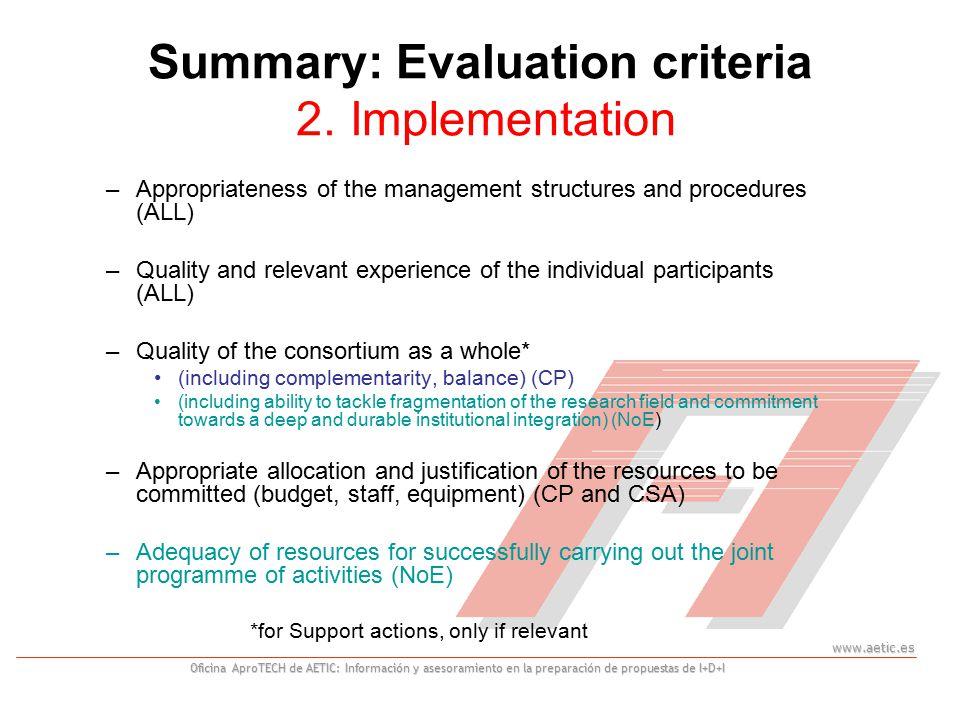 www.aetic.es Oficina AproTECH de AETIC: Información y asesoramiento en la preparación de propuestas de I+D+I Summary: Evaluation criteria 2.