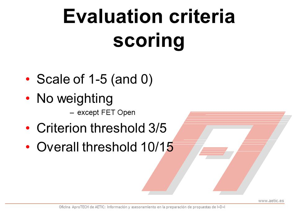 www.aetic.es Oficina AproTECH de AETIC: Información y asesoramiento en la preparación de propuestas de I+D+I Evaluation criteria scoring Scale of 1-5 (and 0) No weighting –except FET Open Criterion threshold 3/5 Overall threshold 10/15