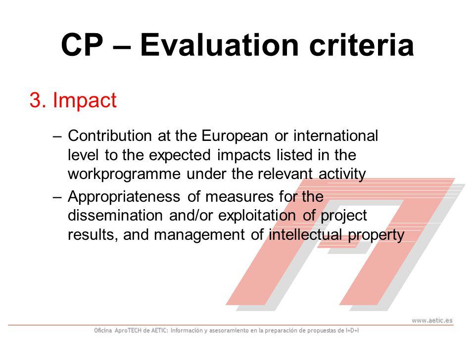 www.aetic.es Oficina AproTECH de AETIC: Información y asesoramiento en la preparación de propuestas de I+D+I CP – Evaluation criteria 3.