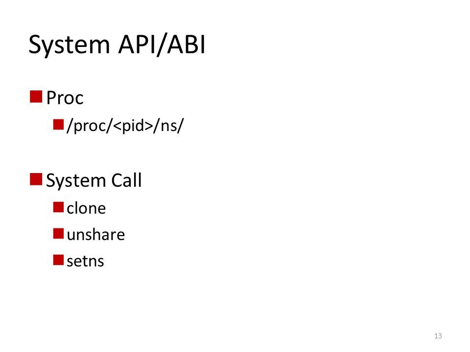 System API/ABI Proc /proc/ /ns/ System Call clone unshare setns 13