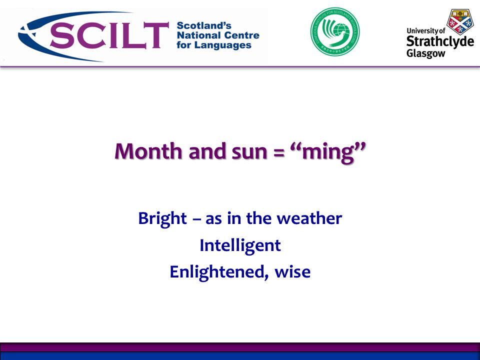 Month and sun = ming Bright – as in the weather Intelligent Enlightened, wise