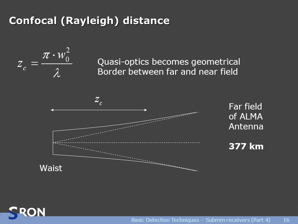 Basic Detection Techniques – Submm receivers (Part 4)16 Confocal (Rayleigh) distance Quasi-optics becomes geometrical Border between far and near field Waist Far field of ALMA Antenna 377 km
