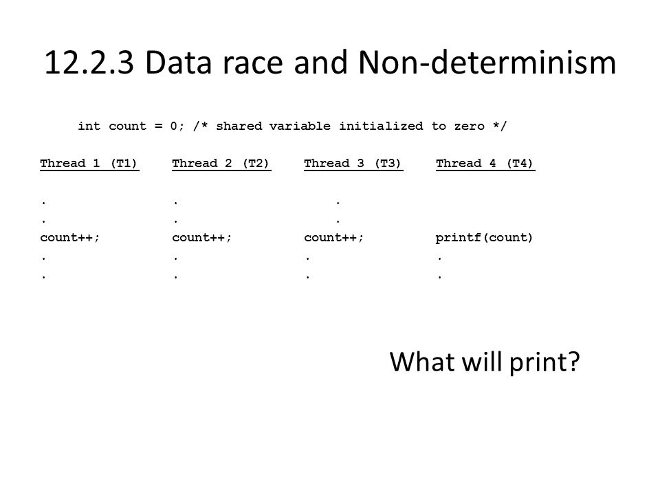 12.2.3 Data race and Non-determinism int count = 0; /* shared variable initialized to zero */ Thread 1 (T1)Thread 2 (T2)Thread 3 (T3)Thread 4 (T4)...