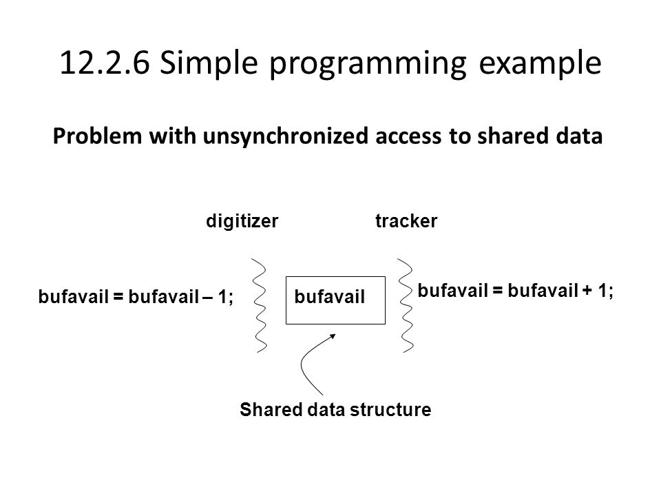12.2.6 Simple programming example digitizertracker bufavailbufavail = bufavail – 1; bufavail = bufavail + 1; Shared data structure Problem with unsynchronized access to shared data