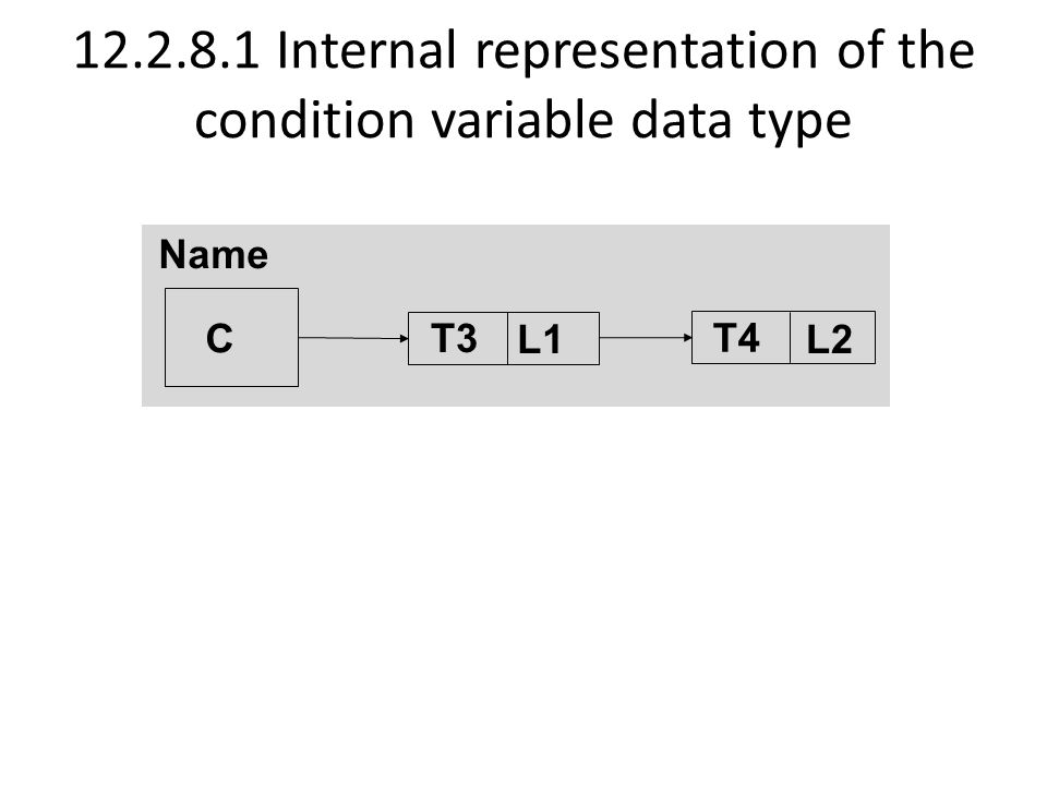 12.2.8.1 Internal representation of the condition variable data type C T3 T4 Name L1L2