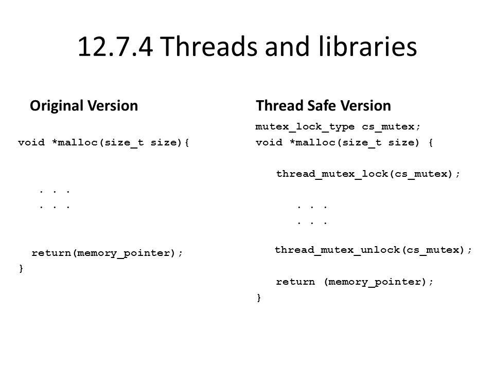 12.7.4 Threads and libraries Original Version void *malloc(size_t size){...
