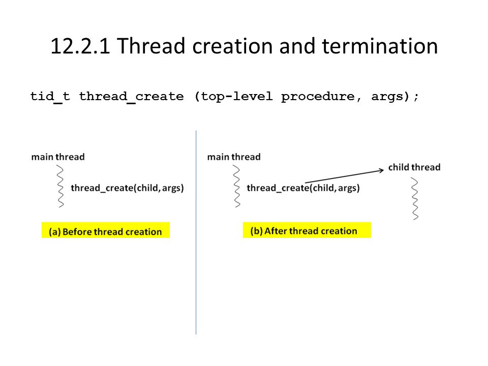 12.2.1 Thread creation and termination tid_t thread_create (top-level procedure, args);