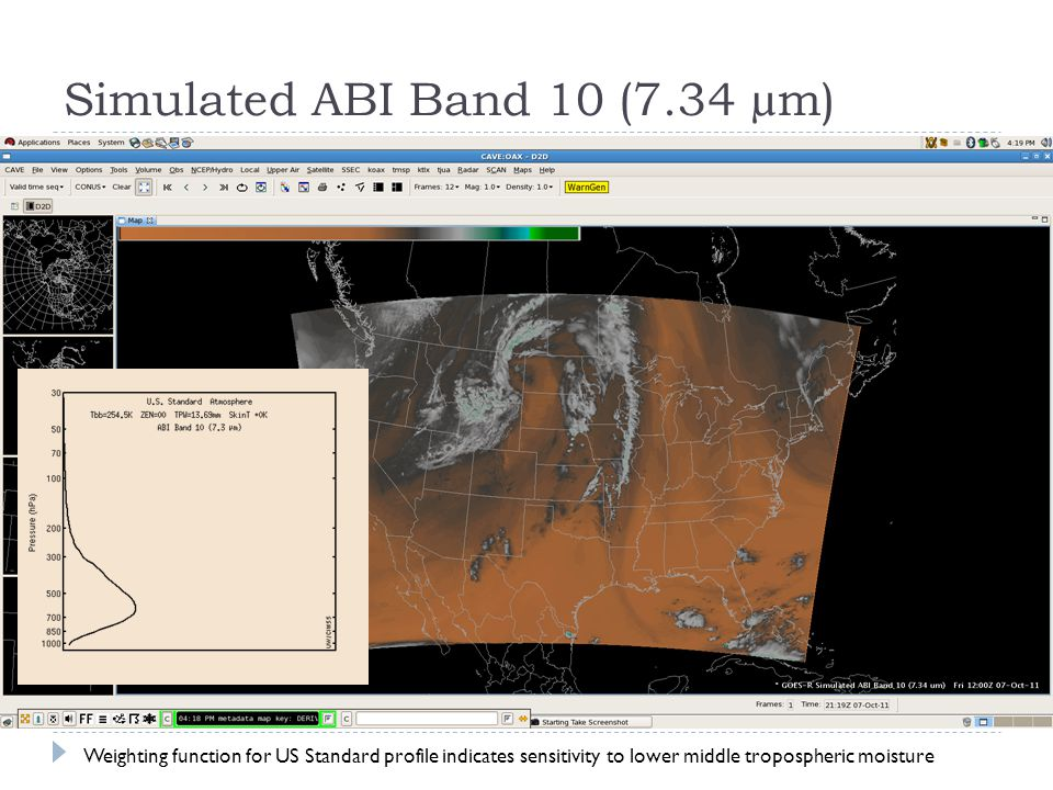 Simulated ABI Band 10 (7.34 µm) Weighting function for US Standard profile indicates sensitivity to lower middle tropospheric moisture