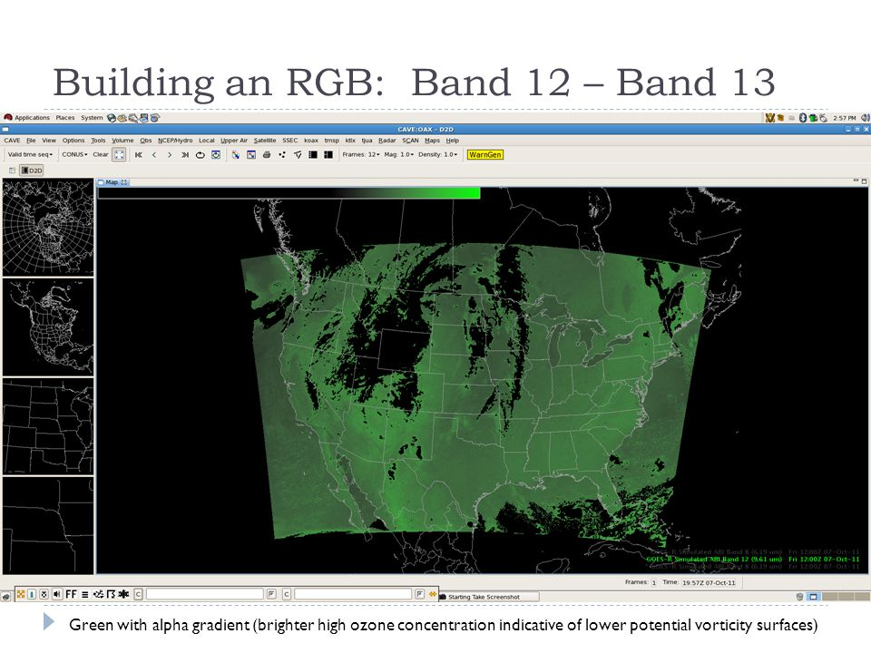 Building an RGB: Band 12 – Band 13 Green with alpha gradient (brighter high ozone concentration indicative of lower potential vorticity surfaces)
