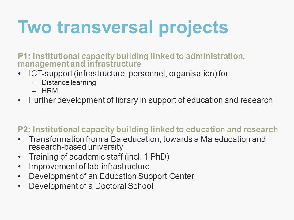 Two transversal projects P1: Institutional capacity building linked to administration, management and infrastructure ICT-support (infrastructure, personnel, organisation) for: –Distance learning –HRM Further development of library in support of education and research P2: Institutional capacity building linked to education and research Transformation from a Ba education, towards a Ma education and research-based university Training of academic staff (incl.