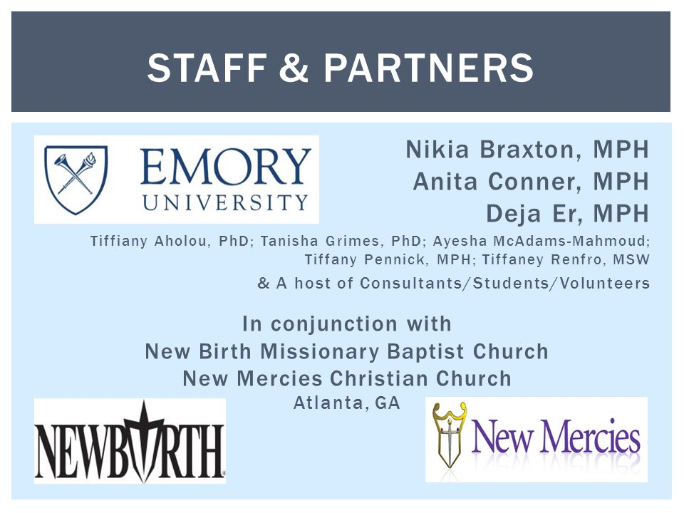 Nikia Braxton, MPH Anita Conner, MPH Deja Er, MPH Tiffiany Aholou, PhD; Tanisha Grimes, PhD; Ayesha McAdams-Mahmoud; Tiffany Pennick, MPH; Tiffaney Re