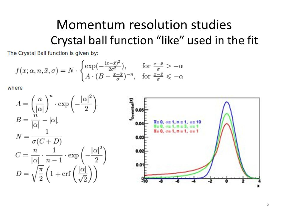 Crystal ball function like used in the fit fit: Momentum resolution studies 6