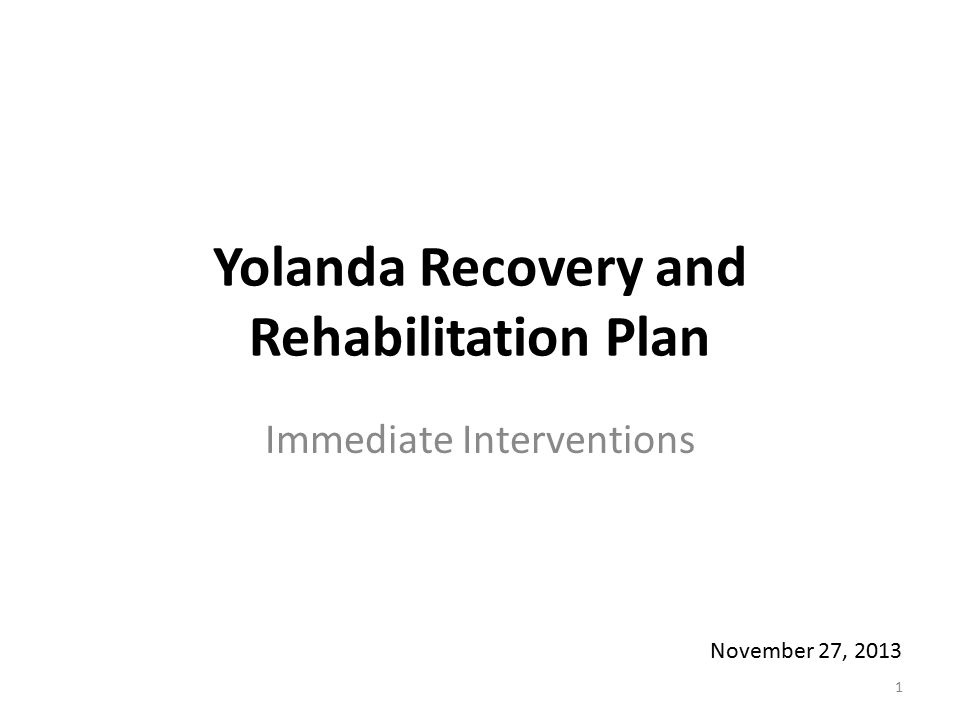 Yolanda Recovery and Rehabilitation Plan Immediate Interventions 1 November 27, 2013