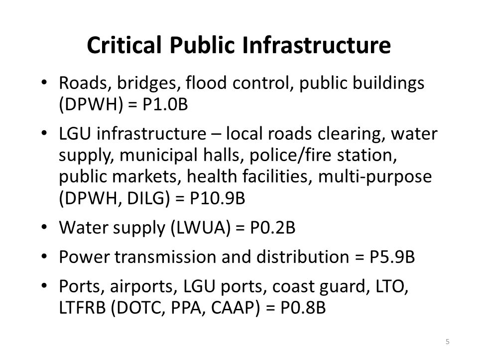 Critical Public Infrastructure Roads, bridges, flood control, public buildings (DPWH) = P1.0B LGU infrastructure – local roads clearing, water supply,