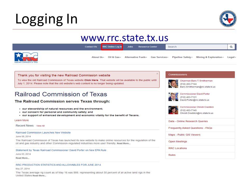 Logging In 3 www.rrc.state.tx.us